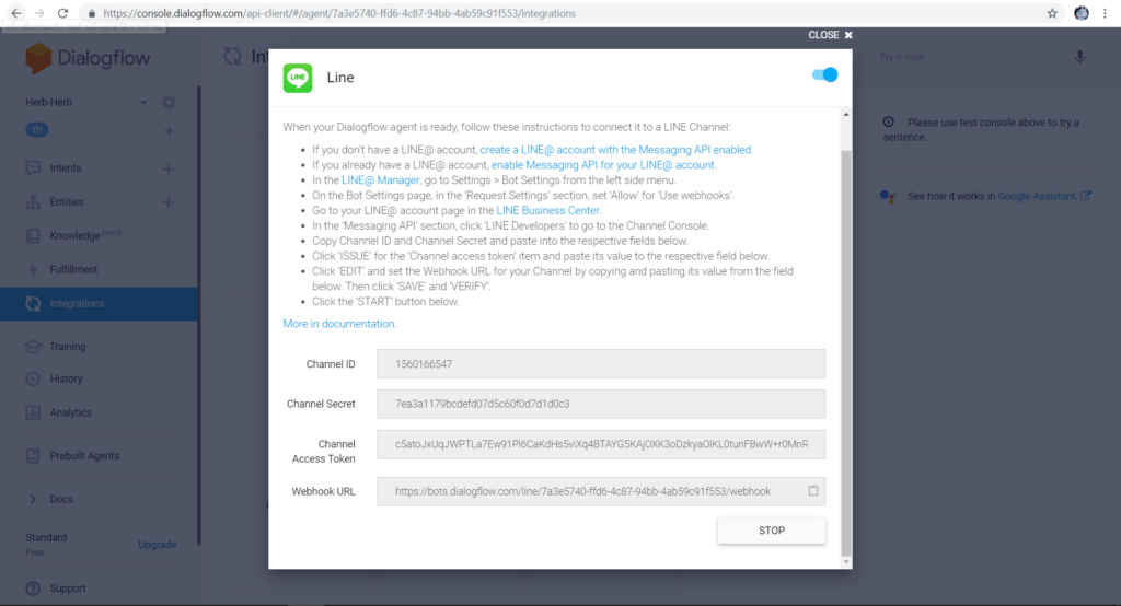 How to do Chatbot by Dialogflow16.1